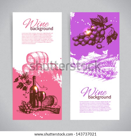 Banners of wine vintage background. Hand drawn illustrations.