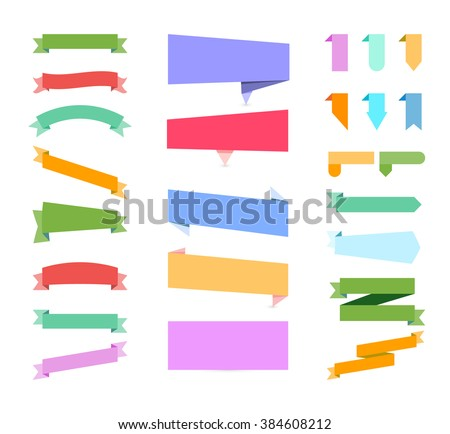 Banners on white background. Set of design elements banners ribbons
