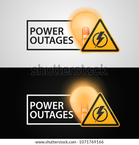 """Banners """"Power outages"""" on a black background and white background."""