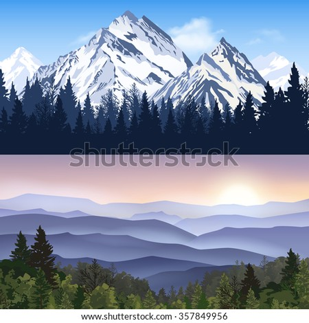 banners set of landscape with