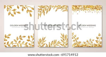 Banners set with gold floral patterns on white. Vector illustration. Flyer design layout templates for wedding cards, save the date, business brochure design. Golden Olive laurel branches decor