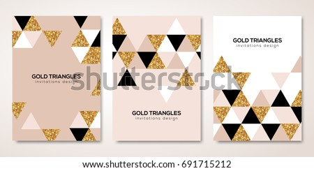 Banners set with gold geometric patterns. Vector illustration. Flyer layout templates for wedding cards, business brochure design, certificates. Golden triangles decor