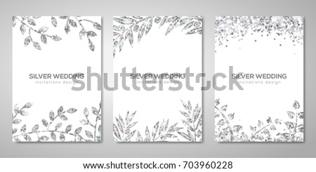 Banners set with silver floral patterns on white. Vector illustration. Flyer layout templates for wedding cards, save the date, business brochure design. Olive laurel branches decor
