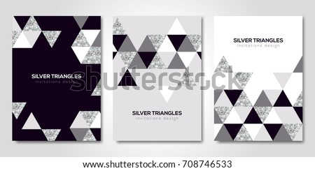 Banners set with silver geometric patterns. Vector illustration. Flyer design layout templates for wedding cards, business brochure, certificates. Triangles decor
