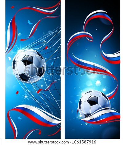 Banners Soccer Ball with Flag of Russia on a Blue Background. Vector illustration
