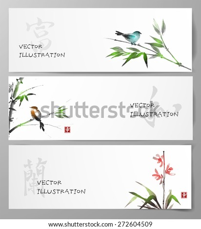 banners with bamboo  orchid and
