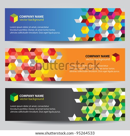 Banners with colorful cubes