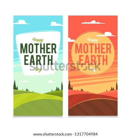 Banners with landscapes mother earth day. Eps10 vector illustration.