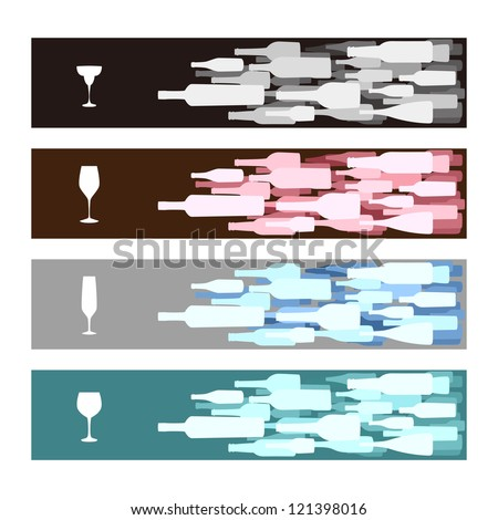 Banners with red blue black gray white wine bottles and wine glasses