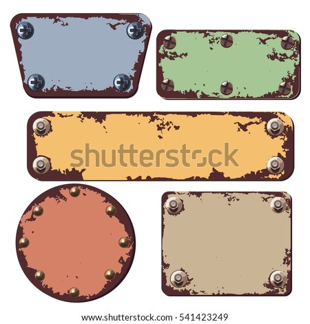 Banners with rust and screws
