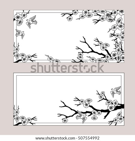 banners with sakura blossoms