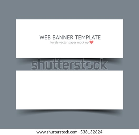 Banners with shadows isolated on dark background. Realistic material vector illustration of paper strip. Web site header and banner set.