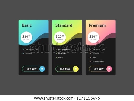 Modern business banners design set of three download vetores e comparison of pricing table set for business bullet list with reheart Image collections