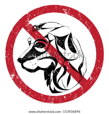Banning stamp, illustration of the forbidden access with dogs