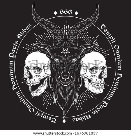 Baphomet demon goat head hand drawn print or blackwork flash tattoo art design vector illustration. Latin inscription translation - father of the temple of peace of all men ストックフォト ©