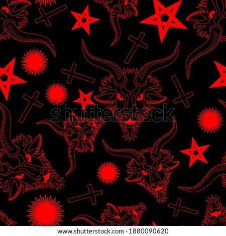 Baphomet Demon pattern seamless. Satanic background. Satan with goat head ornament. Devil symbol pentagram texture ストックフォト ©