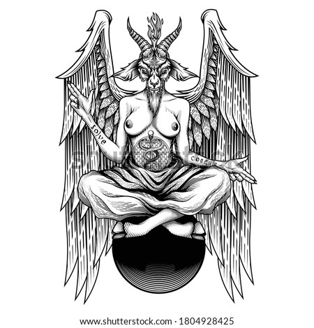 Baphomet. Vector illustration in engraving technique of demon with goat head, wings and woman body who sitting on sphere. Satanic, occult symbol. Isolated on white background. ストックフォト ©