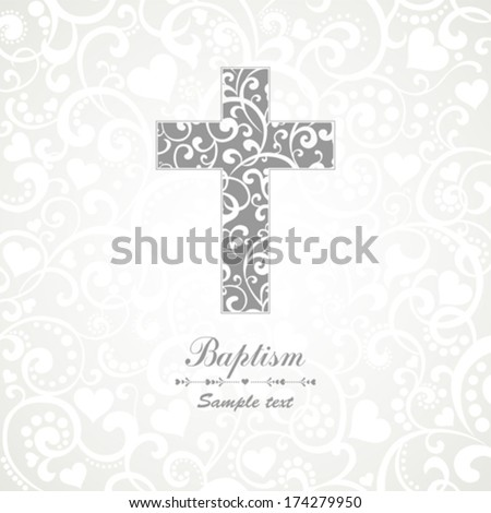 Baptism Card Design with Cross Vector Illustration