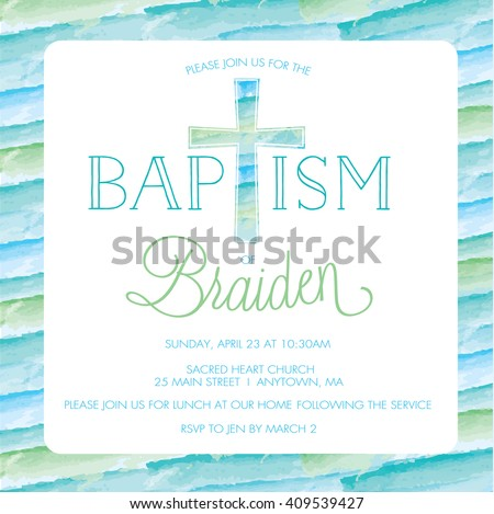 Baptism christening invitation card invite template boy baptism christening invitation card invite template boy watercolor cross stock images page everypixel stopboris
