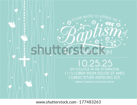Baptism vector invitations download free vector art stock baptism invitation card design with cross and birds in vector stopboris Image collections