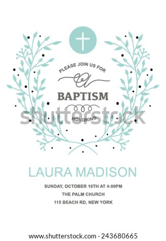 Baptism Invitation Design with wreath on white background