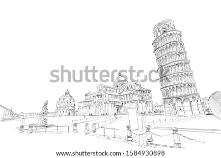Baptistery in Pisa. Pisa Cathedral.  Leaning tower of Pisa. Pisa. Italy. Hand drawn sketch. Vector illustration. Zdjęcia stock ©