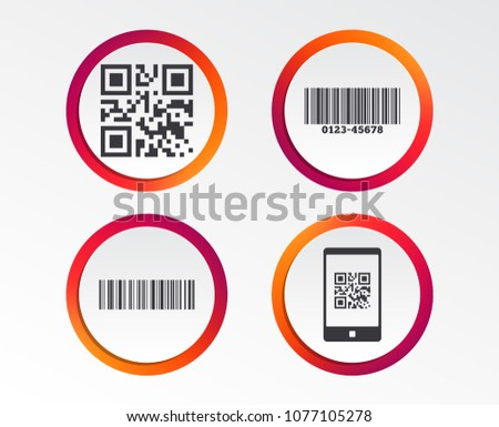 Bar and Qr code icons. Scan barcode in smartphone symbols. Infographic design buttons. Circle templates. Vector