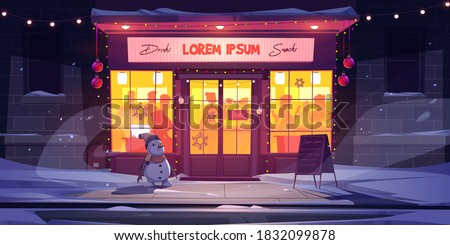 Bar at winter, night cafe at Christmas Eve. Drinking establishment exterior with people inside. Outdoor beerhouse entrance with snowman, xmas decor, lights and signboard, cartoon vector illustration