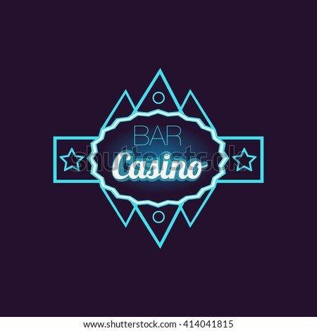 bar casino blue neon sign las