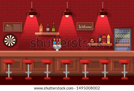 Bar celebrating place, brick wall decorated by shelf with bottles, welcome board and men, darts sign. Beer pub, bottles in fridge, nobody indoor vector