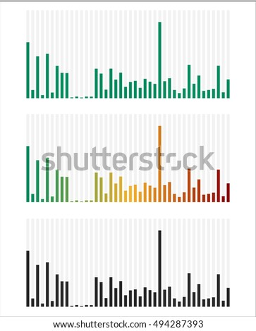 Bar chart, bar graph interface element with low and high levels.