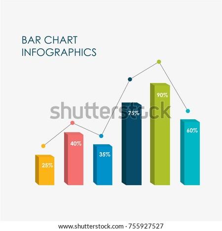 Bar Chart Infographics Elements 3D Vector Flat Design, Full Color.