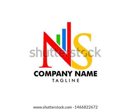 Bar Chart Initial Letter NS Logo Design Stock fotó ©