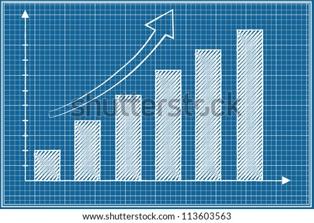 Bar chart sketched vector on blueprint