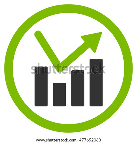bar chart trend rounded icon