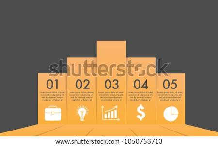 Bar chart vector infographic of 5 steps or options or components for business or finance information or presentation with business icon-suitcase,light bulb,growth graphs,dollar sign,small pie chart