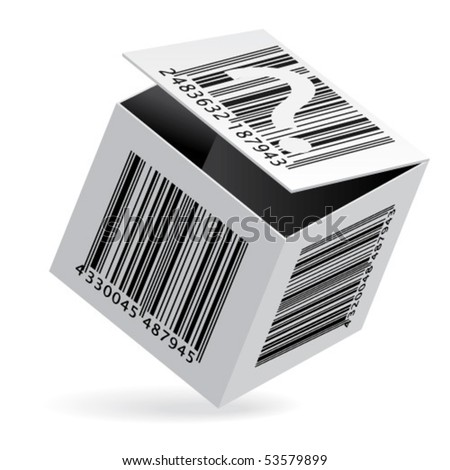 Bar code on open white box