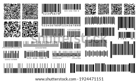 Bar code. Product barcodes and QR codes for digital laser scanning on packaging. Isolated vector template. Illustration code product sticker, label bar line for scanner information