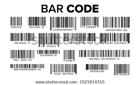Bar Code Set Vector. Universal Product Scan Code. UPC Bar Code Scan Symbol.  Isolated Illustration