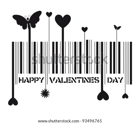 bar code with valentines day message, vector illustration
