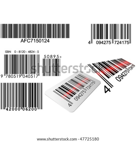 Bar codes in different styles with red laser line