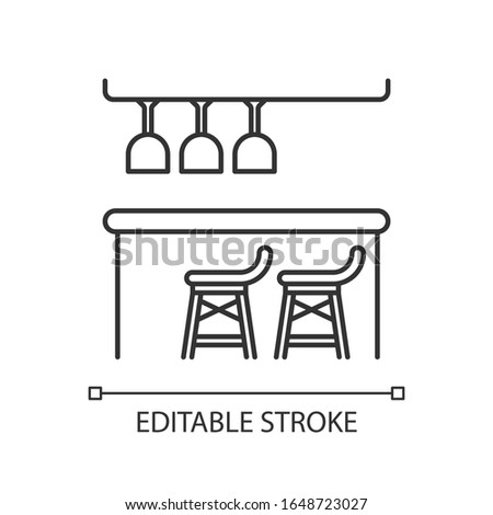 Bar counter pixel perfect linear icon. Thin line customizable illustration. Night club, bar, pub contour symbol. Alcohol drinks sale. Vector isolated outline drawing. Editable stroke