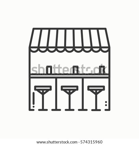 Bar counter with stools thin line icon. Street food retail. Mobile coffee house, bar, shop. Vector linear style icon.