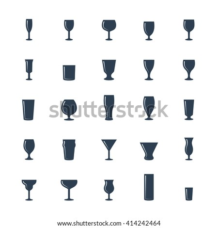 bar glasses vector icon set