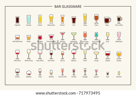 Bar glassware guide, colored icons. Horizontal orientation. Vector