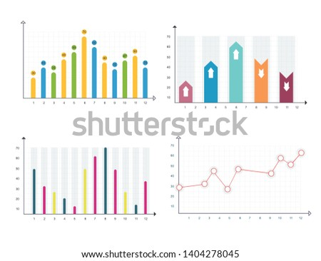 Bar graph and line graph templates. Business infographics