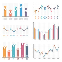 Bar graph and line graph templates, business infographics, vector eps10 illustration