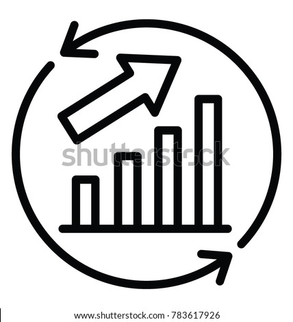 Bar graph with an upward arrow and circular arrows symbolising continuous improvement and growth