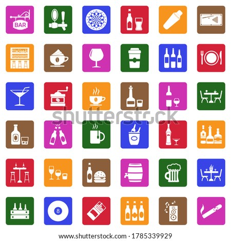 Bar Icons. White Flat Design In Square. Vector Illustration. stock photo