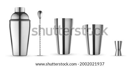 Bar kit set, Bottle For Cocktail mockup. Realistic mockup isolated. Cocktail shaker, hawthorne strainer, stirrer, metak muddler and jigger.